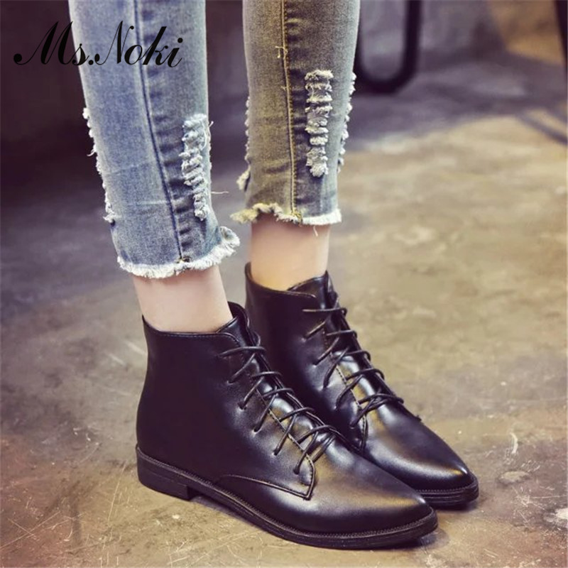 pointed toe lace up women ankle boots fashion ladies autumn winter flat heels cuasual boots shoes woman motorcycle short booties 2016 custom made fashion brown short ankle boots for women pointed toe lace up platform thin heels stiletto ladies buckle boots
