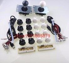 Genuine Japan SANWA OBSF-30 16pcs Push Buttons+2 SANWA JLF-TP-8YT Joysticks+ 2 PC Encoders For USB MAME Cabinet -Gray+White
