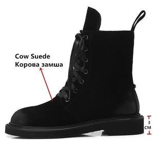 Image 3 - FEDONAS marka kadın yarım çizmeler sonbahar kış inek süet kısa bayan ayakkabıları kadın kalın topuklu Punk parti kulübü ayakkabı temel botları