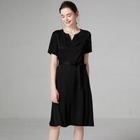PIXY Summer Acetate Midi Dress Women Belt Casual Little Black Dresses Short Sleeve V Neck za sukienka Soft Ladies vestidos robe