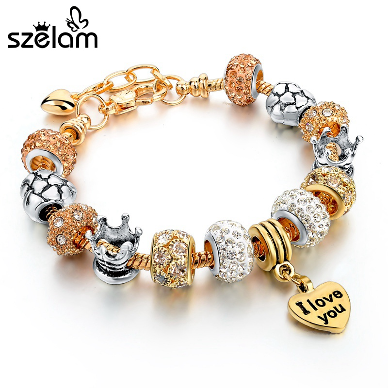 szelam 2017 famous brand jewelry gold heart charm. Black Bedroom Furniture Sets. Home Design Ideas