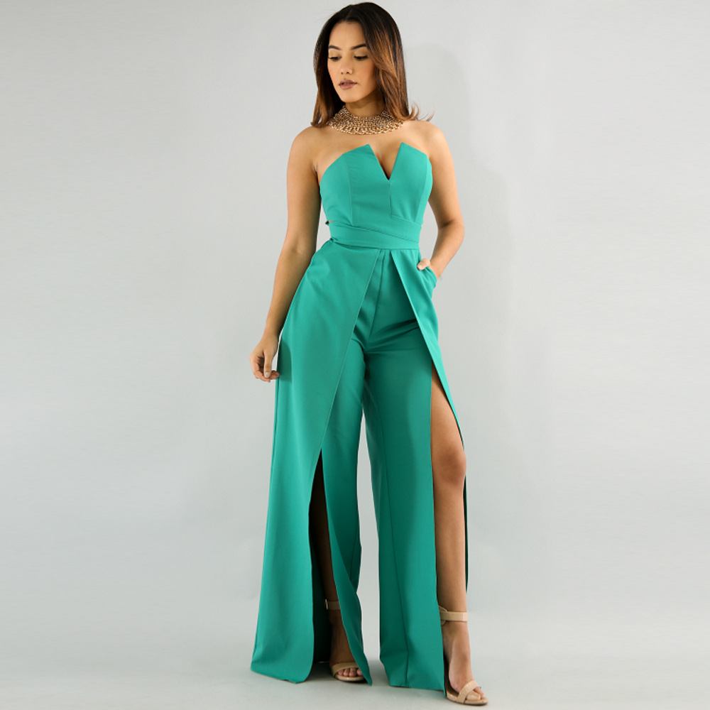 Ladies Fashion Sexy Jumpsuit Wrap High Split Mid Waist Wide Leg Pants Women Hot Female Casual Summer Beach Long Loose Jumpsuits