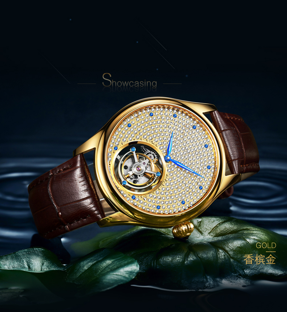 2019 Real Tourbillon Mechanical Hand Wind Sapphire Mens Watches Top Brand Luxury Rhinestone Clock men Gold Relogio Masculino 17