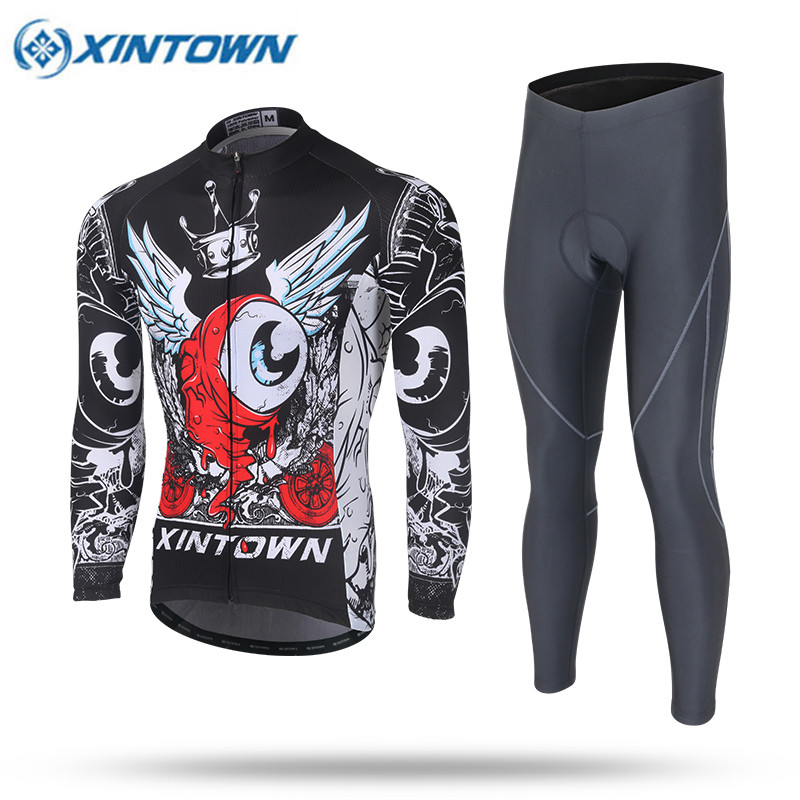 XINTOWN Pro Thin Long Sleeve Cycling Jersey Sets Men Sportswear Ropa Ciclismo MTB Bike Bicycle 3D Gel Padded Cycling Clothing  fastcute cycling jersey sets ropa de ciclismo short sleeve road bicycle jersey gel padded mountain bike clothing mtb cycle set