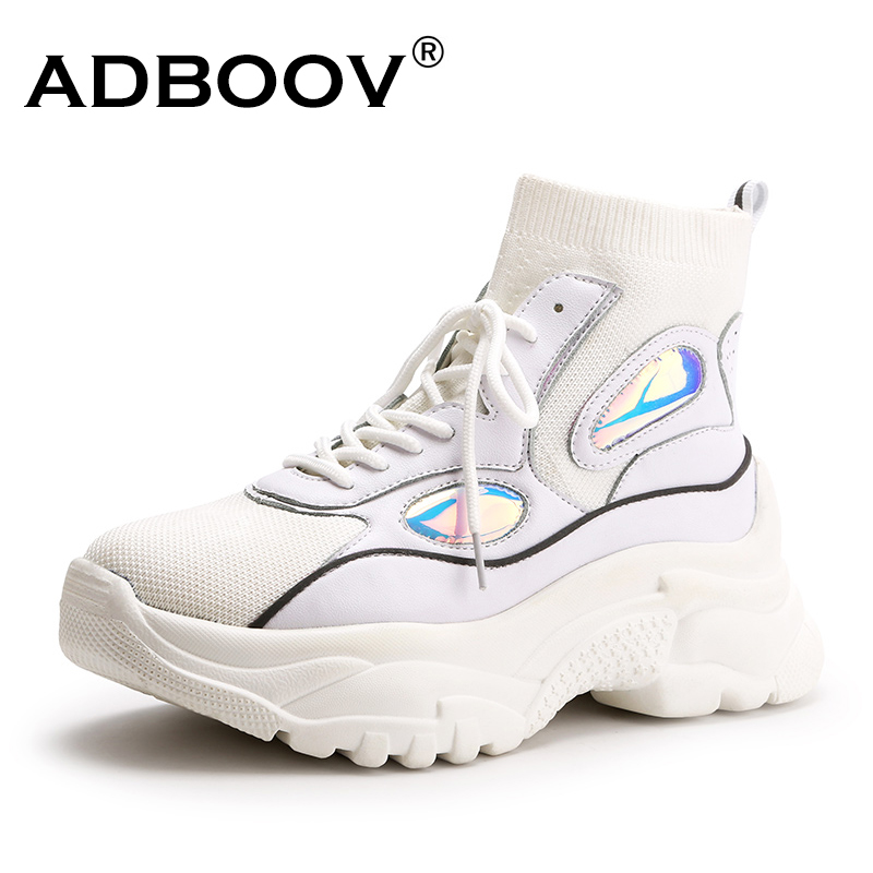 ADBOOV 2018 новые Модная обувь женские высокие кроссовки Для женщин вязать обувь на платформе дамские ботильоны Коренастый Блеск носок туфли