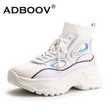 12042e4c ADBOOV 2018 más nuevos de moda mujer zapatos High Top Sneakers mujeres  punto plataforma zapatos botas
