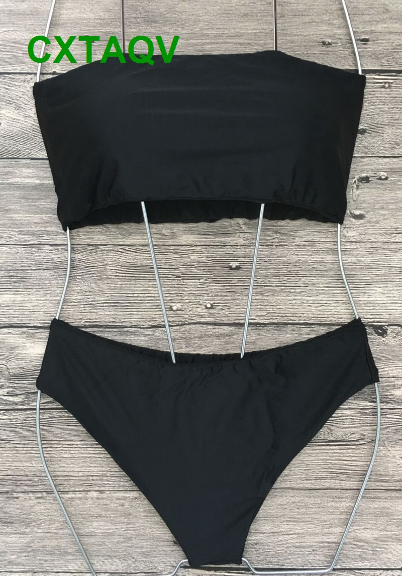 0000f971a31 2018 Sexy Strapless Boob Tube Top Bikini Swimsuit Solid Black White Orange  Army Green Royal Blue Swimwear Brazilian Beachwear-in Bikinis Set from  Sports ...