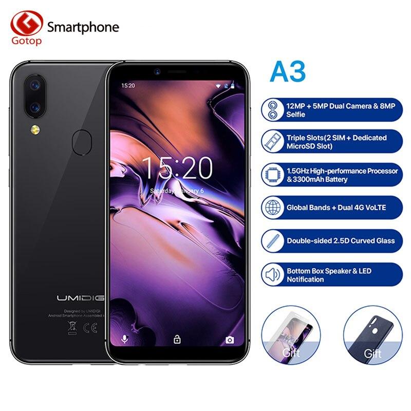 UMIDIGI A3 Глобальный Band 5,5 incell HD + дисплей 2 ГБ + 16 ГБ смартфон MT6739 Quad core Android 8,1 12MP + 5MP лицо двойной 4G мобильный телефон