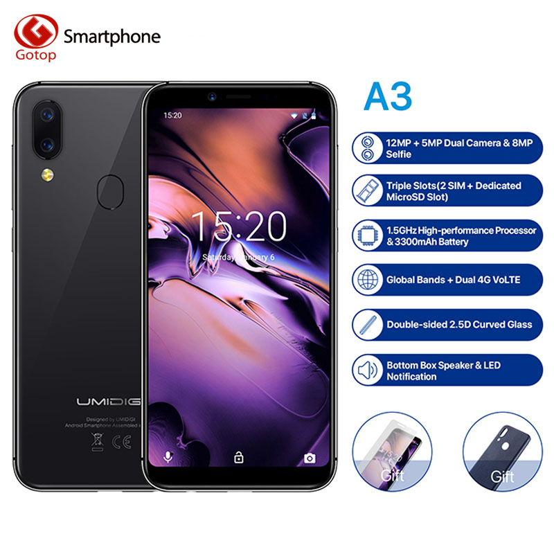 """UMIDIGI A3 Global Band 5.5""""incell HD+display 2GB+16GB smartphone MT6739 Quad core Android 8.1 12MP+5MP Face Dual 4G Mobile phone"""