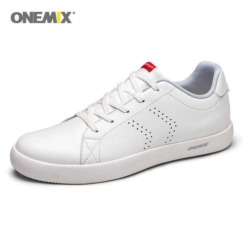 ONEMIX Men Shoes Sneakers 2019 New Casual Soft Leather Skateboard Shoes Lightweight Jogging Training White Tenis
