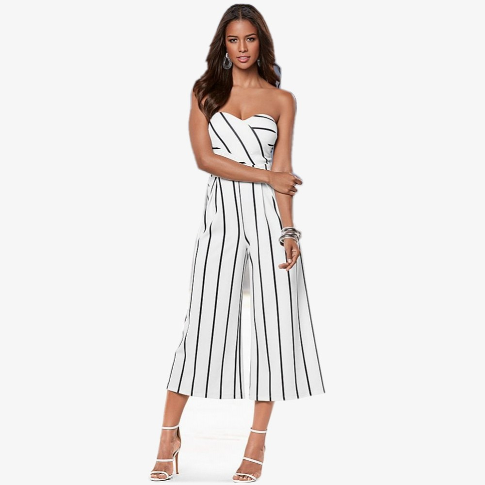 FK1043 Lady Fashion Jumpsuits Chest Wrapped with Bra Pad Stripes Print Patchwork Loose Calf Length Pants Rompers Sexy Coverall