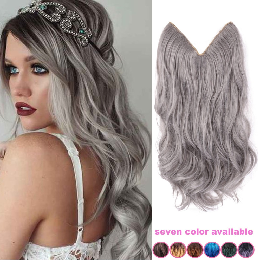 20 inch grey silver hair no clip hair extension brazilian 20 inch grey silver hair no clip hair extension brazilian natural wave invisible synthetic hair extension flip in fantasy hair on aliexpress alibaba pmusecretfo Images