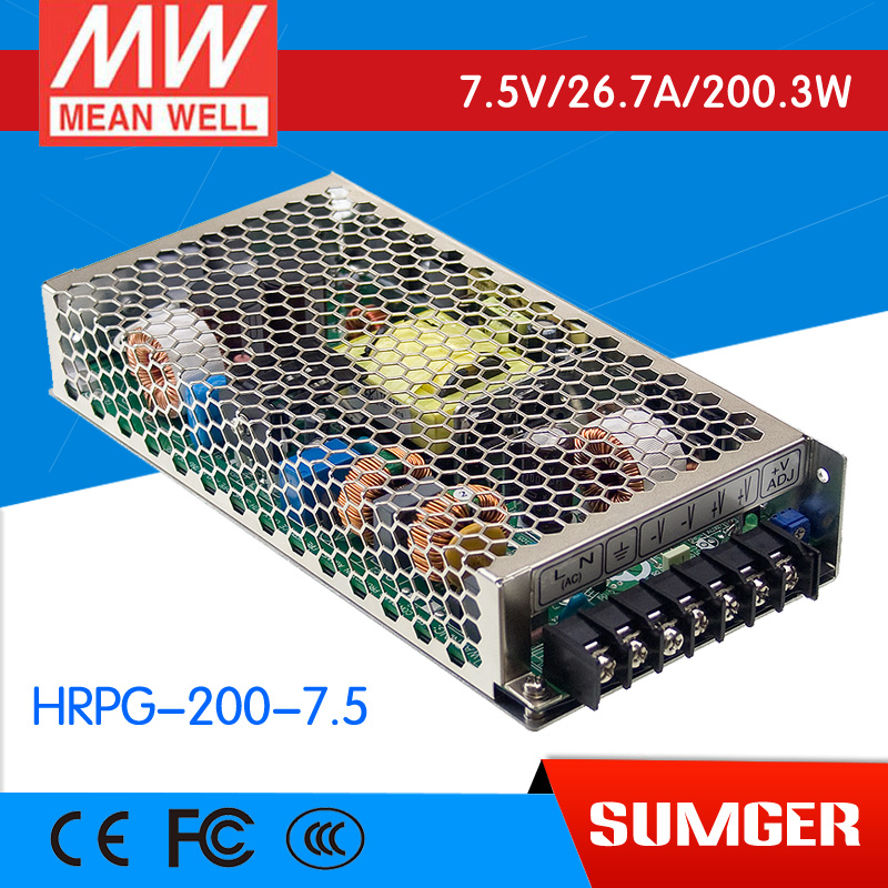 1MEAN WELL original HRPG-200-7.5 7.5V 26.7A meanwell HRPG-200 7.5V 200.3W Single Output PFC Function  Power Supply advantages mean well hrpg 200 24 24v 8 4a meanwell hrpg 200 24v 201 6w single output with pfc function power supply [real1]