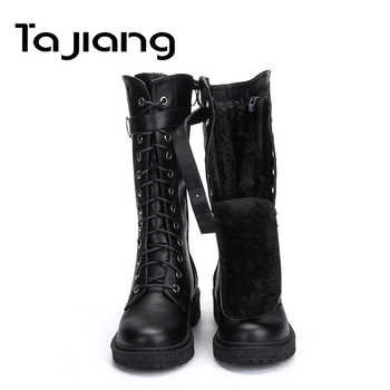 Ta Jiang Fashion Warm Plush Winter Women Mid-Calf Boots For Women Shoes Leather Lace-Up Autumn Zip Motorcycle Boots Shoes Woman - DISCOUNT ITEM  50% OFF All Category