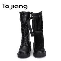 Ta Jiang Fashion Warm Plush Winter Women Mid Calf Boots For Women Shoes Leather Lace Up Autumn Zip Motorcycle Boots Shoes Woman