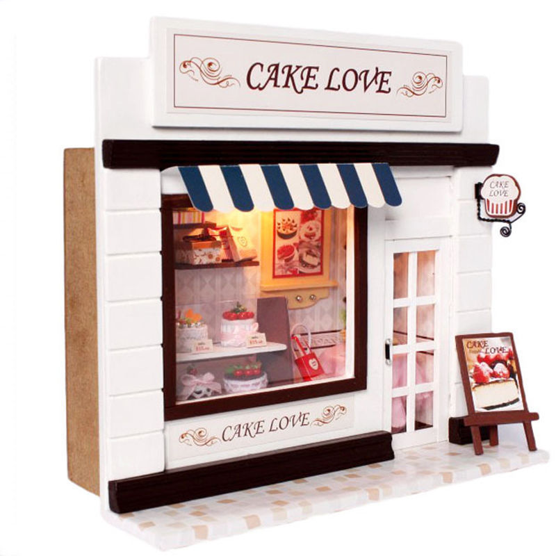 Wooden Cake Shop Model DIY Assemble Miniature Stores Dollhouse Furnitures Kit Model With LED Light Doll House Birthday Gift