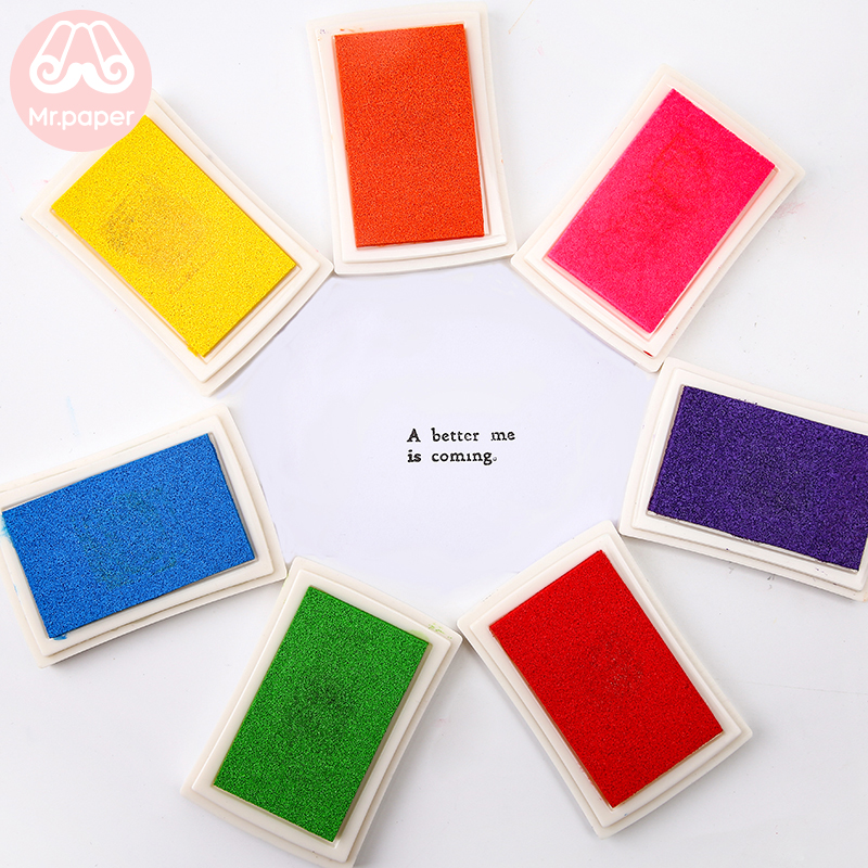 Mr Paper 15 Colors Inkpad Handmade DIY Craft Oil Based Ink Pad for Fabric Wood Paper Scrapbooking Ink pad Finger Painting 3