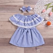 WEIXINBUY 2-6Y 2Pcs Casual Summer Baby Girl Dress Cotton Striped Pattern Infant Dresses Toddler Baby Clothes Dress With Headband summer baby girls suspender dress kids cotton soft dresses for girls toddler casual vest children sundresses infant clothes 2 6y