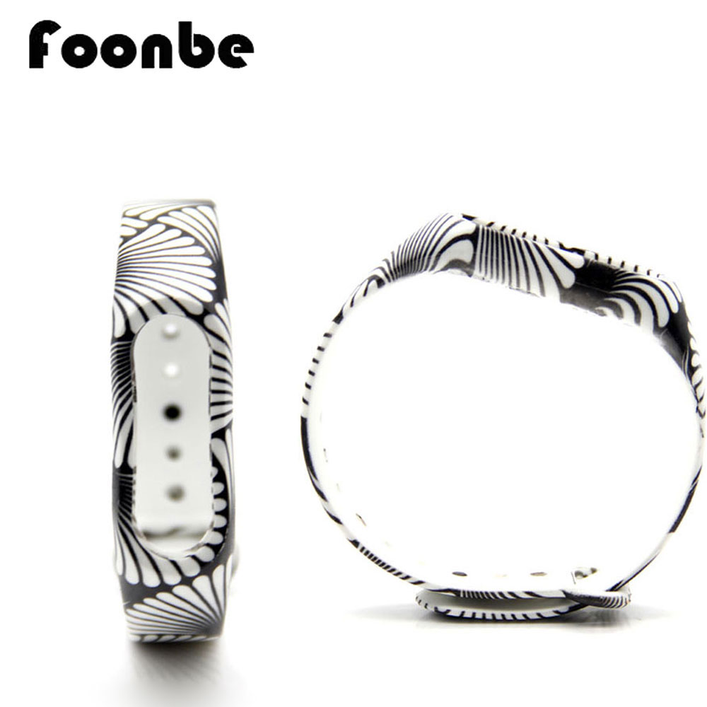 1pcs Black-White Simple Printed Replacement Band For Xiaomi 2 Smart Wristband Silicone Strap for Mi Band 2 Bracelet Accessories
