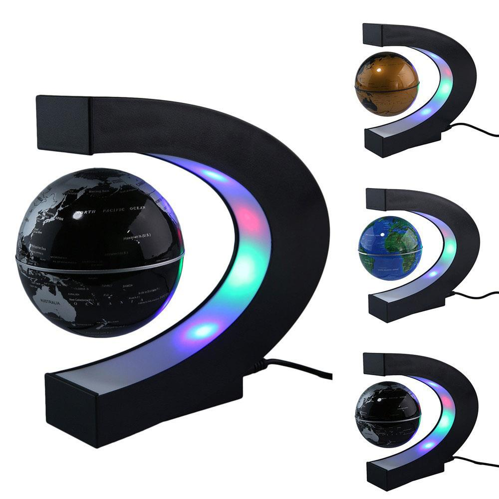 C Shape Black Blue Gold LED World Map Globe Lamp Light Electronic Magnetic Levitation Gl ...