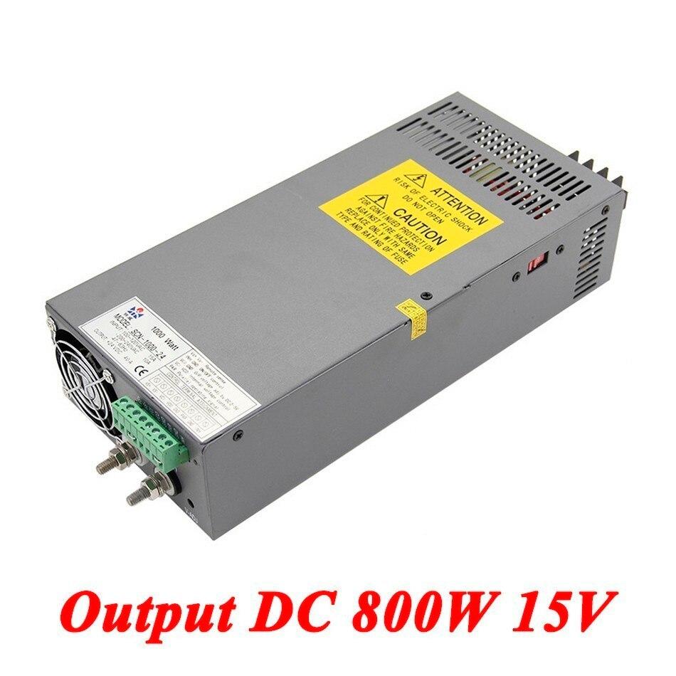 Scn 800 15 800 Вт 15 В 53a, высокой мощности один Выход AC DC импульсный источник питания для прокладки водить, AC110V/220 В трансформатор к DC 15 В