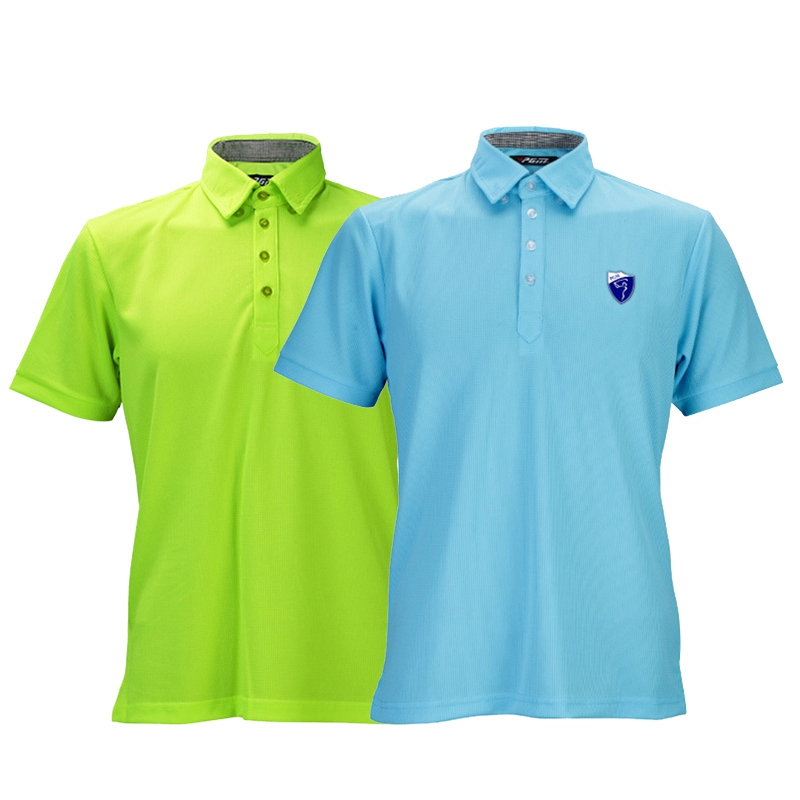 PGM Golf Wear Polyester Polo T Shirt Mens Short Sleeved Breathable Summer Golf Shirts Sunscreen Sport Clothing