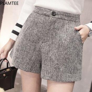PLAMTEE New Autumn Woolen Shorts Women 2017 Winter Loose Wide Leg Shorts Feminino A Line Zipper Pocket Short Femme Size S-XXL Шорты