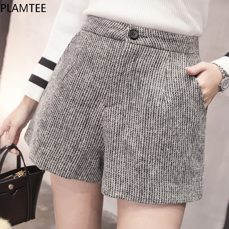 PLAMTEE New Autumn Woolen   Shorts   Women 2017 Winter Loose Wide Leg   Shorts   Feminino A Line Zipper Pocket   Short   Femme Size S-XXL