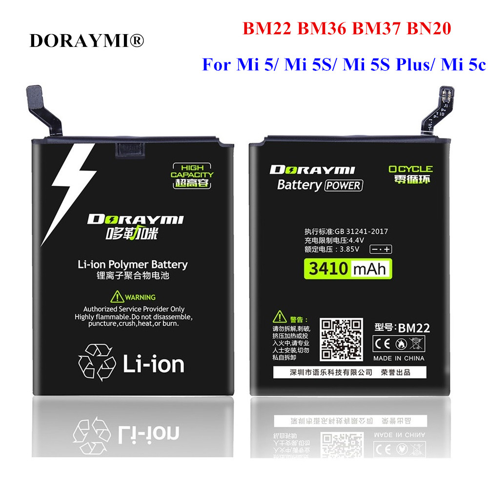 DORAYMI BM22 BM36 BM37 BN20 <font><b>Battery</b></font> for Xiaomi <font><b>Mi</b></font> 5 <font><b>5S</b></font> Plus 5C Mi5 Mi5S Plus Mi5C Phone Replacement <font><b>Batteries</b></font> Bateria + Tools image