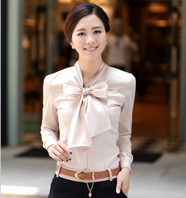 64f0c5320b8ad8 Bow Decorated Sexy V-neck Puff Sleeve Office Lady Chiffon Blouse Plus Size  S-3XL Long Sleeve Solid Color Women Formal Work Shirt