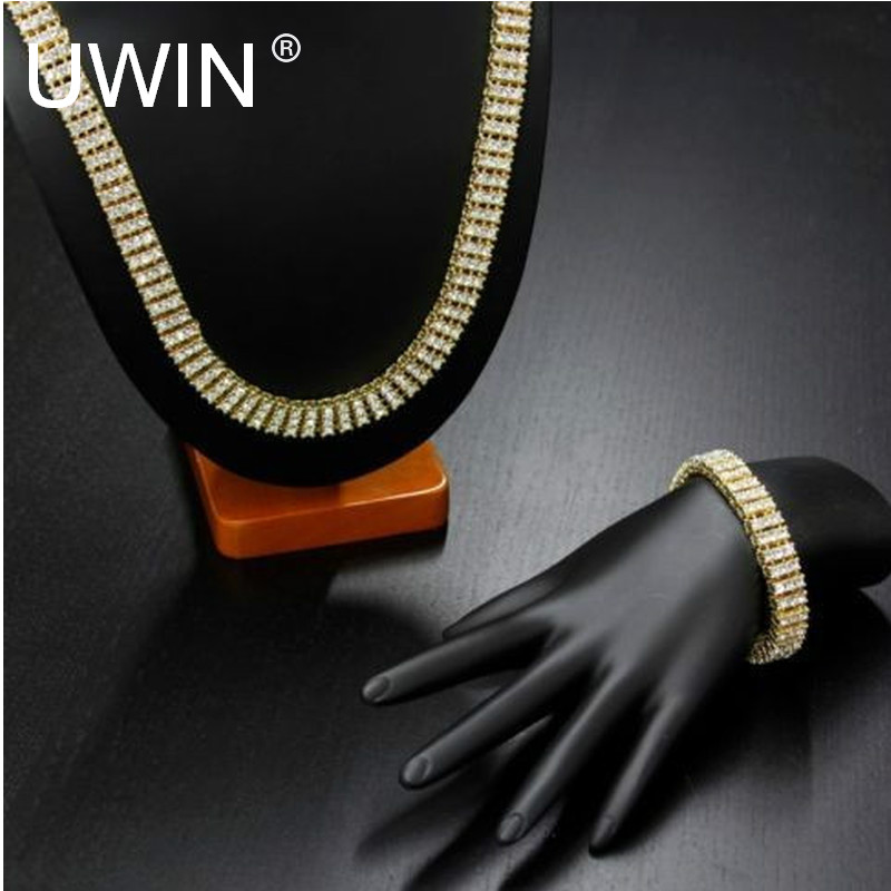 Men Gold Color Hip Hop Necklace Set Jewelry Iced Out 3 Row Rhinestone Crystal Bling Silver Black Chain Necklace Bracelet Set petal rhinestone chain fringe necklace