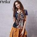 2015 Verão das Mulheres Étnicas das Artka Ilusão Clássico Selo Solto V Collar Manga Curta T-shirt TA15157C