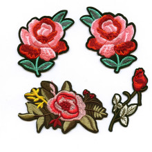 DOUBLEHEE Riches Auspicious Flowers Pink Embroidered Iron On Patches For Clothing New Design Beauty Patch Sticker Badges diy