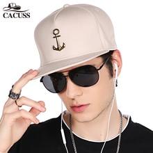 CACUSS New Metal Anchor Baseball Cap Men Hat Hip Hop Boys Fashion Solid Flat Snapback Caps Male Gorras 2017 adjustable snapback