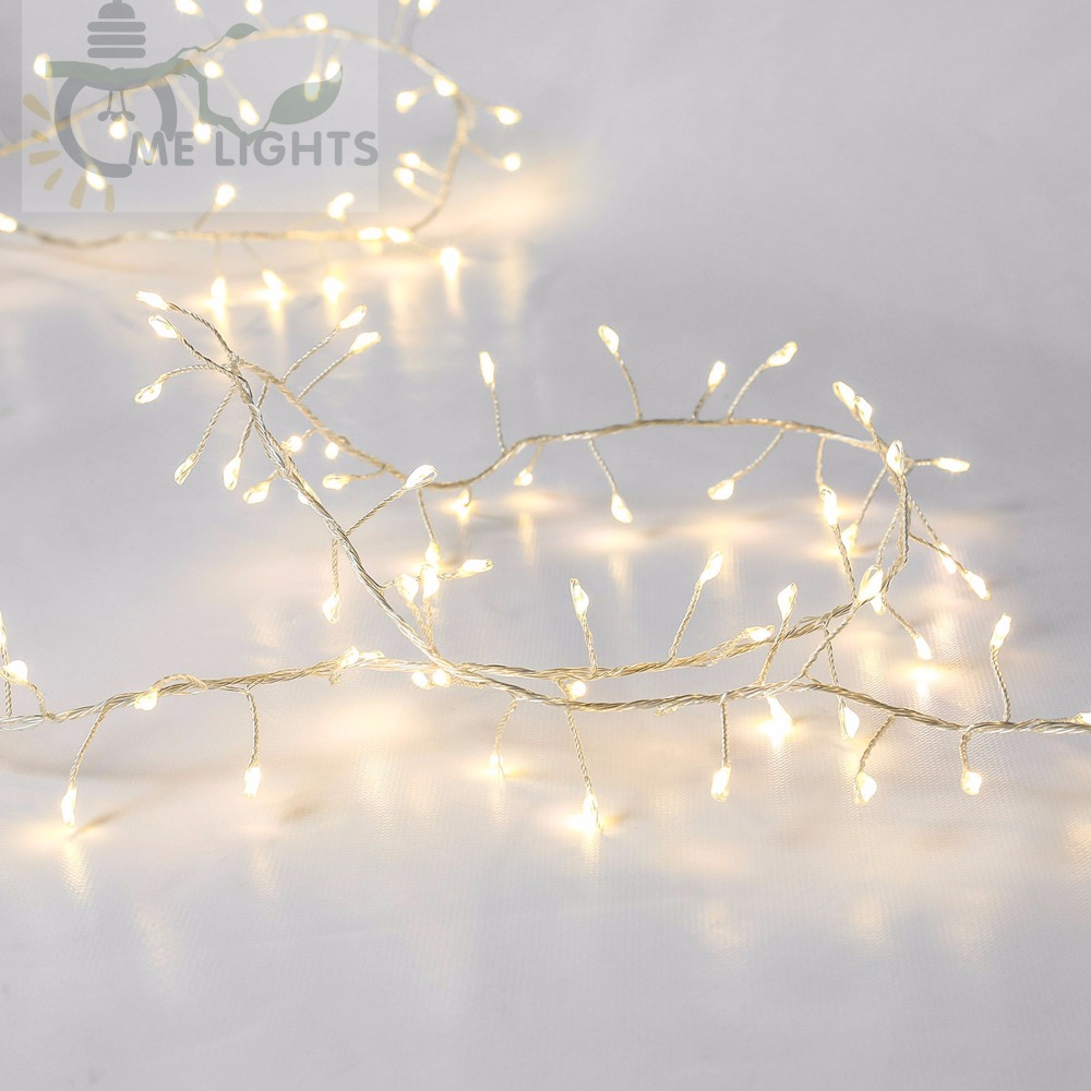Cluster String Lights 33FT 300LED Branch Tree Outdoor Silver Wire ...