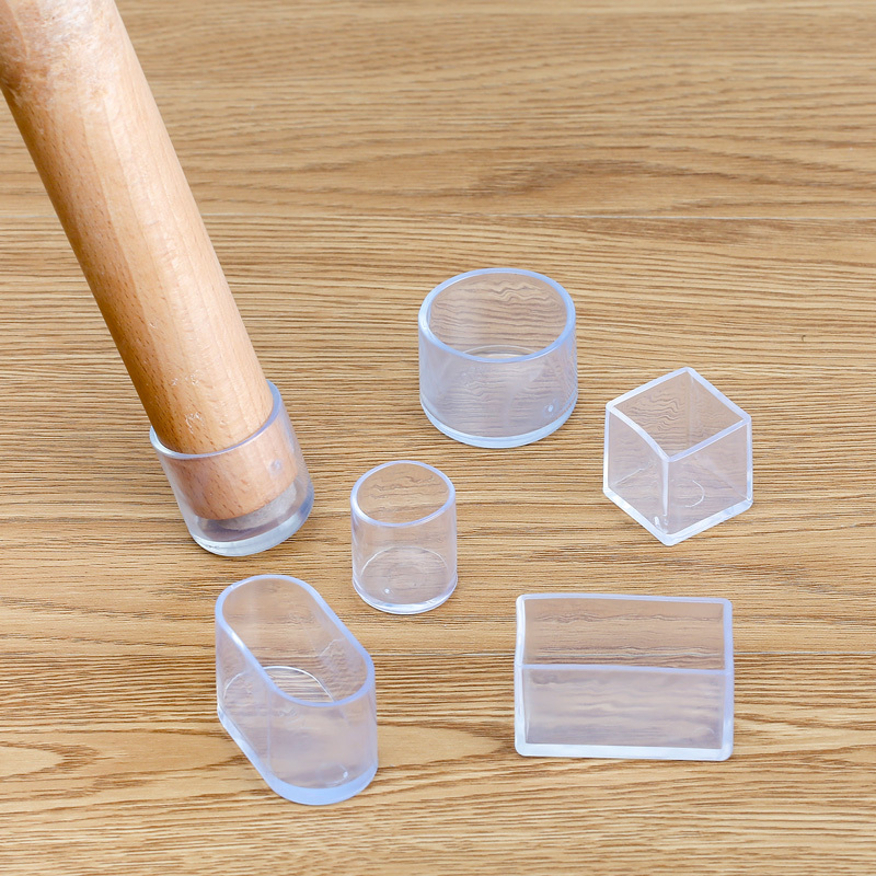 4Pcs Silicone Chair Leg  Socks Transparent Square Table Floor Feet Cover Protector Pads Furniture Pipe Hole Plugs Home Decor