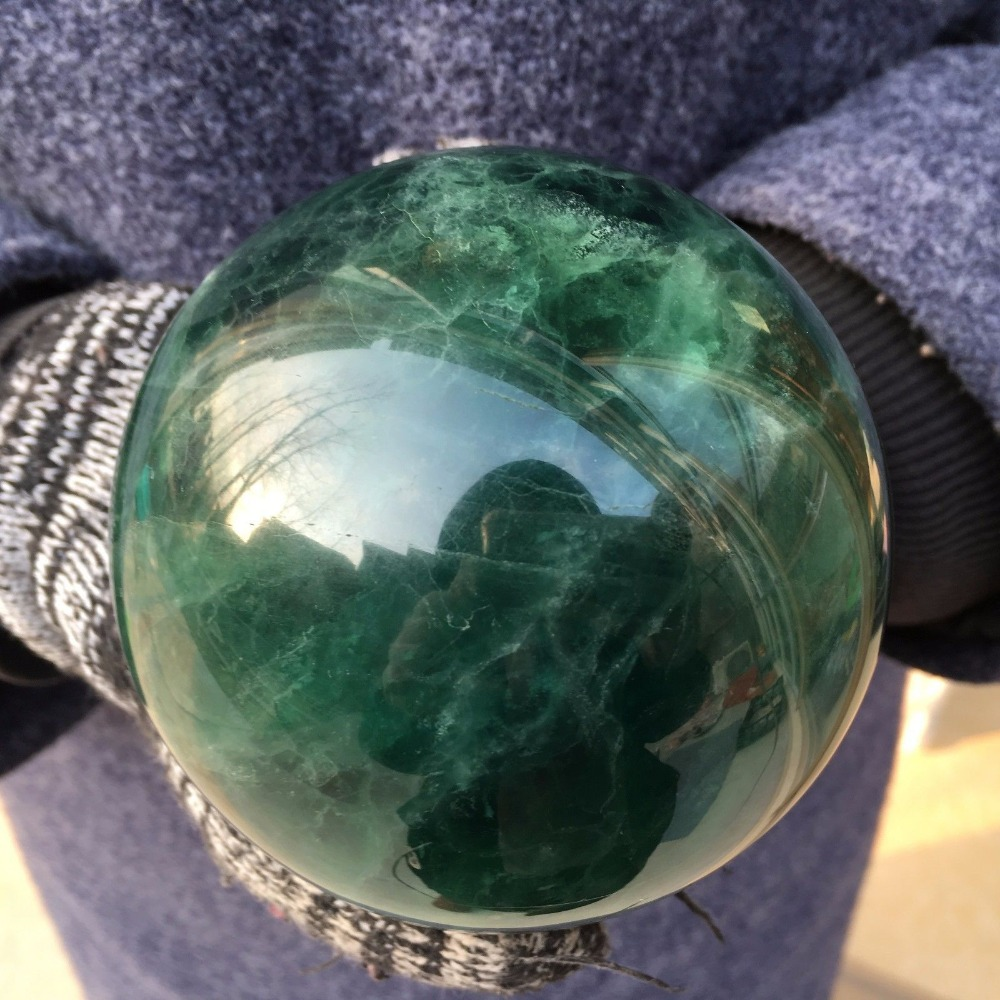 3.56LB Naturelle fluorine sphère de cristal de quartz de roche boule de guérison pierres naturelles et de minéraux 99mm