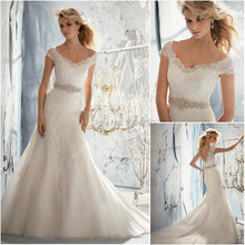 XGGandXRR Cap Sleeves Mermaid Wedding Dress Floor Length
