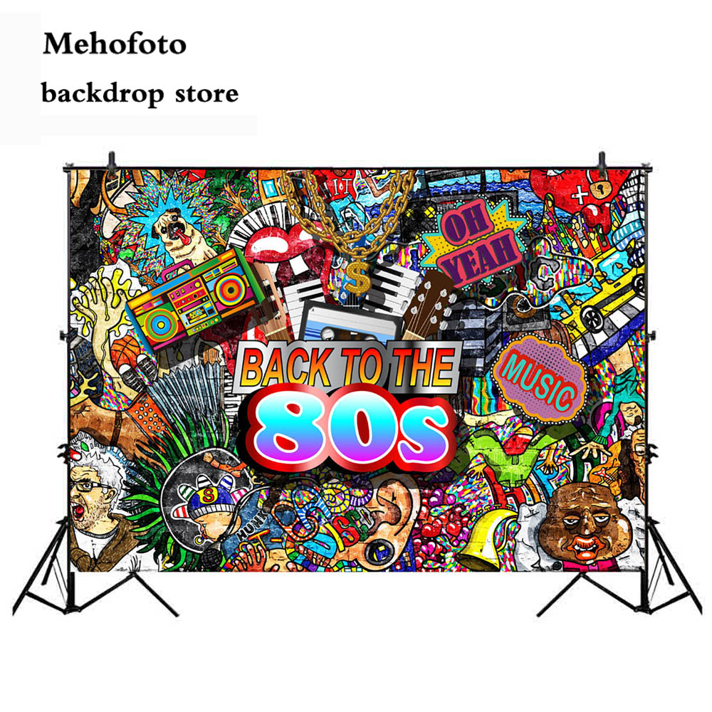 Mehofoto 90 s Vintage Background Graffiti Backdrop 80s Back to