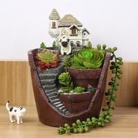 Creative Resin Flower Pot For Succulent Plants Micro Landscape Pot Garden Decoration Planter Villa