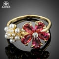 AZORA Gold Plated Lovely Red Cubic Zirconia and Tiny Synthetic Pearls Flowers Fashion Finger Rings TR0171