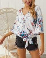 Женская сексуальная шифоновая блузка с v образным вырезом и принтом, рубашка, весна лето, на шнуровке, с бантиком расклешенный рукав, элегант