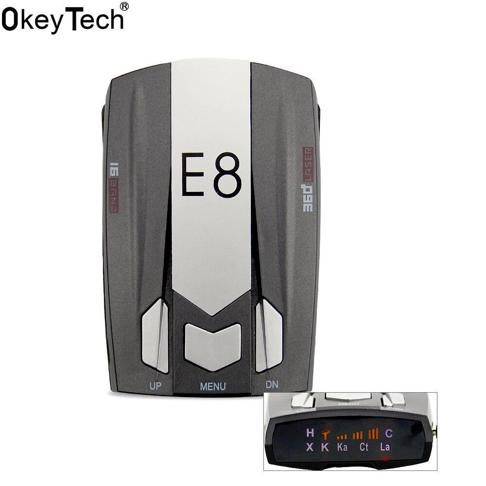 Okeytecch e8 Best дешевого автомобиля металла Антирадары Full Band 360 градусов обнаружить сканирования голос анти-полиции Английский Русский Предупреждение