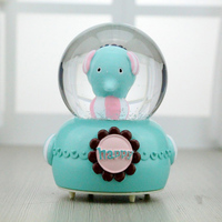 Creative Luminous Crystal Ball Music Box Ornaments Elephant Music Box with Light Figurine Home Decor Birthday Gifts Resin Crafts