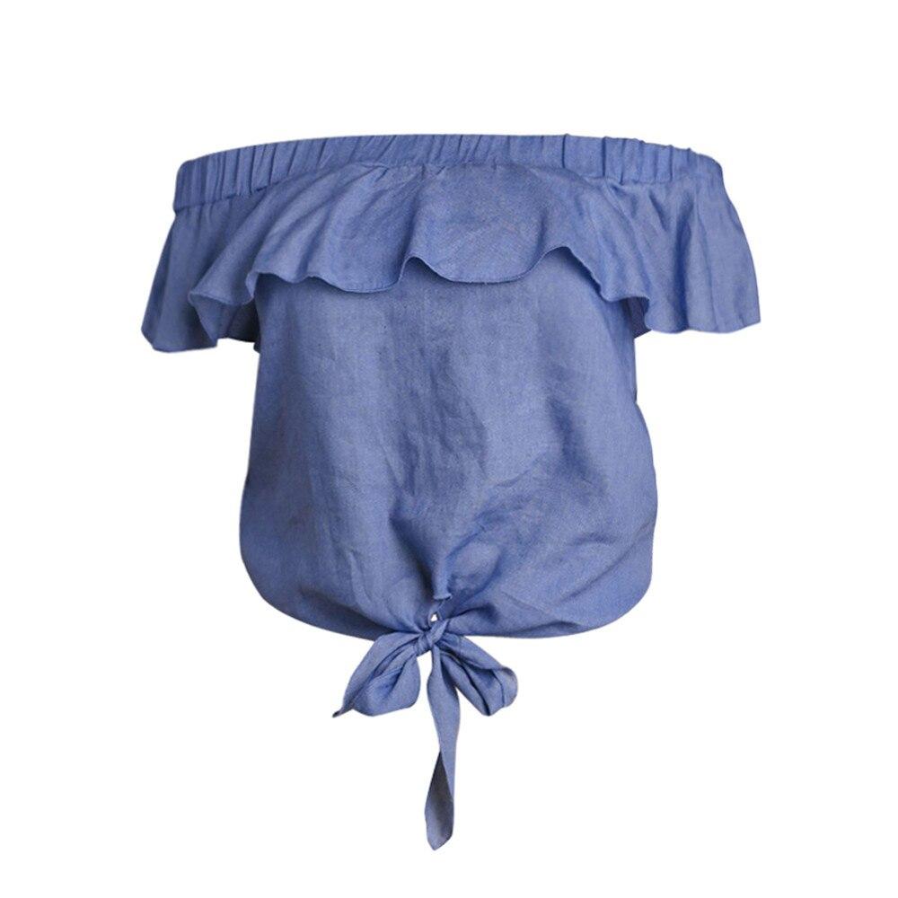Femmes D'été Tunique À Volants Bleu Courtes Blouses Verano Manches Lâche Blusas Bandage Off Épaule Élégant Chemise De Mujer 2018 Chemisier Moda n1Yttx