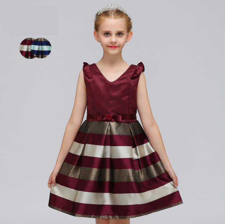 New 2018 Kids Girls Little Ruffled Sleeves Striped Flower Girl Dress Princess Pageant Birthday Party Gorgeous Dress with Bowknot black col boule ruffled hem long sleeves mini dress