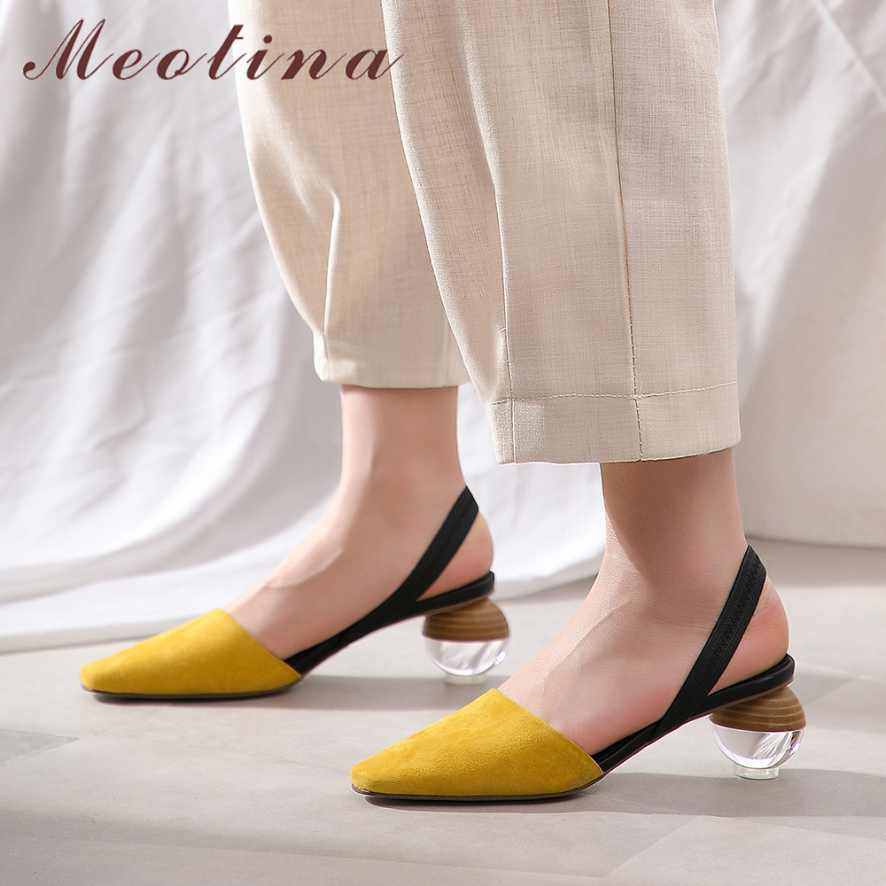 Meotina High Heels Women Slingbacks Shoes Kid Suede Strange Style High Heel Shoes Transparent Square Toe Pumps Ladies Size 34-40Meotina High Heels Women Slingbacks Shoes Kid Suede Strange Style High Heel Shoes Transparent Square Toe Pumps Ladies Size 34-40
