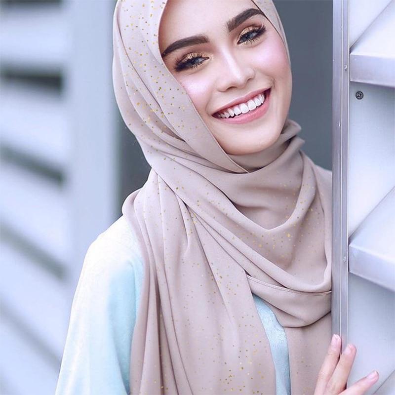 Glitter Plain Chiffon Hijab   Scarf   Women Shimmer Long Shawl Muslim Head   Scarf     Scarves     Wrap