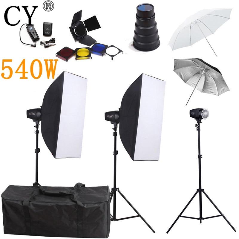 CY Photography Studio Flash Softb Box Lighting Kits 540w Storbe Softbox Stand Umbrella Photo Studio Equipments Godox K-180A