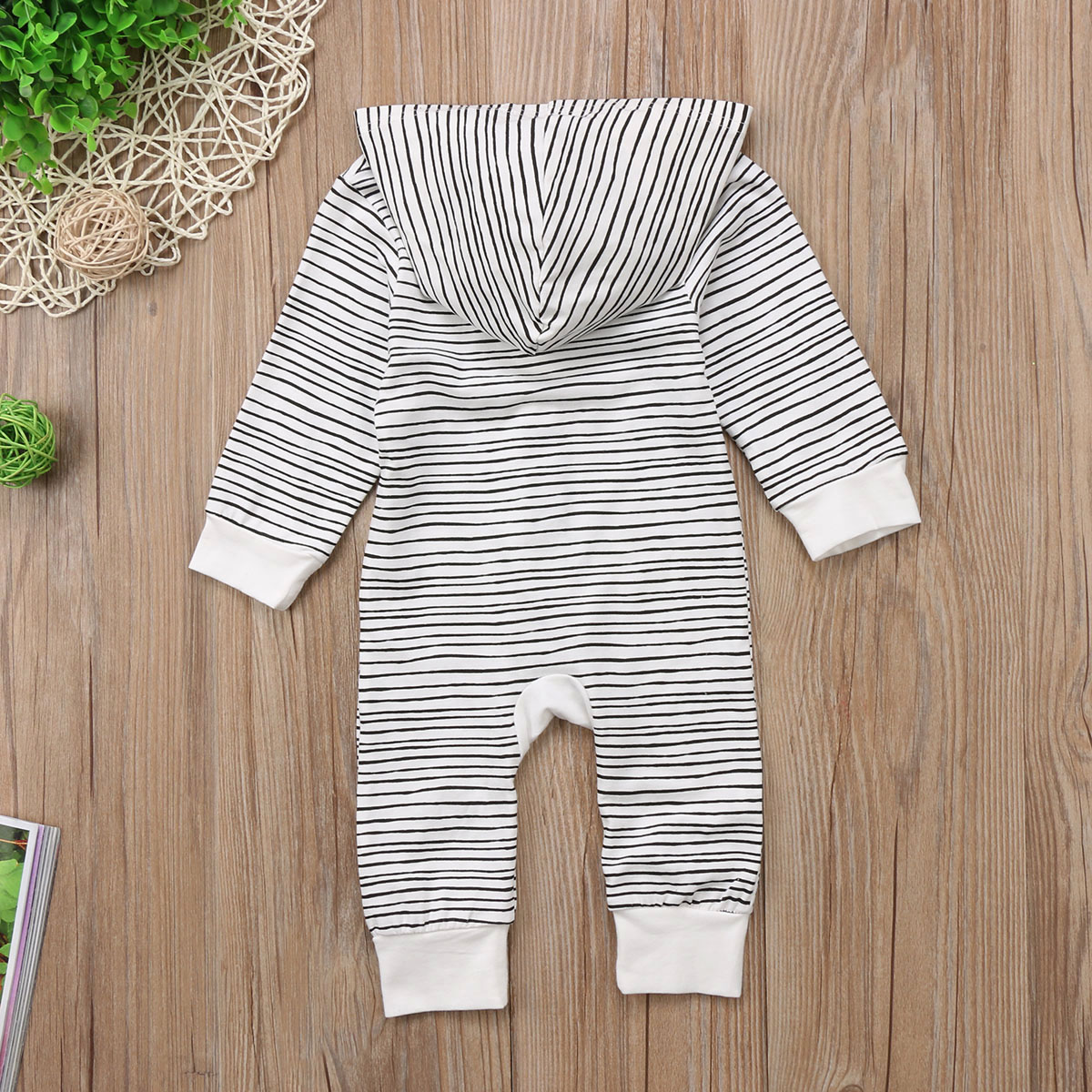 HTB14GKSelTH8KJjy0Fiq6ARsXXam 2018 Brand New Toddler Newborn Baby Boy Girl Warm Infant Romper Striped Jumpsuit Hooded Clothes Long Sleeve Outfit
